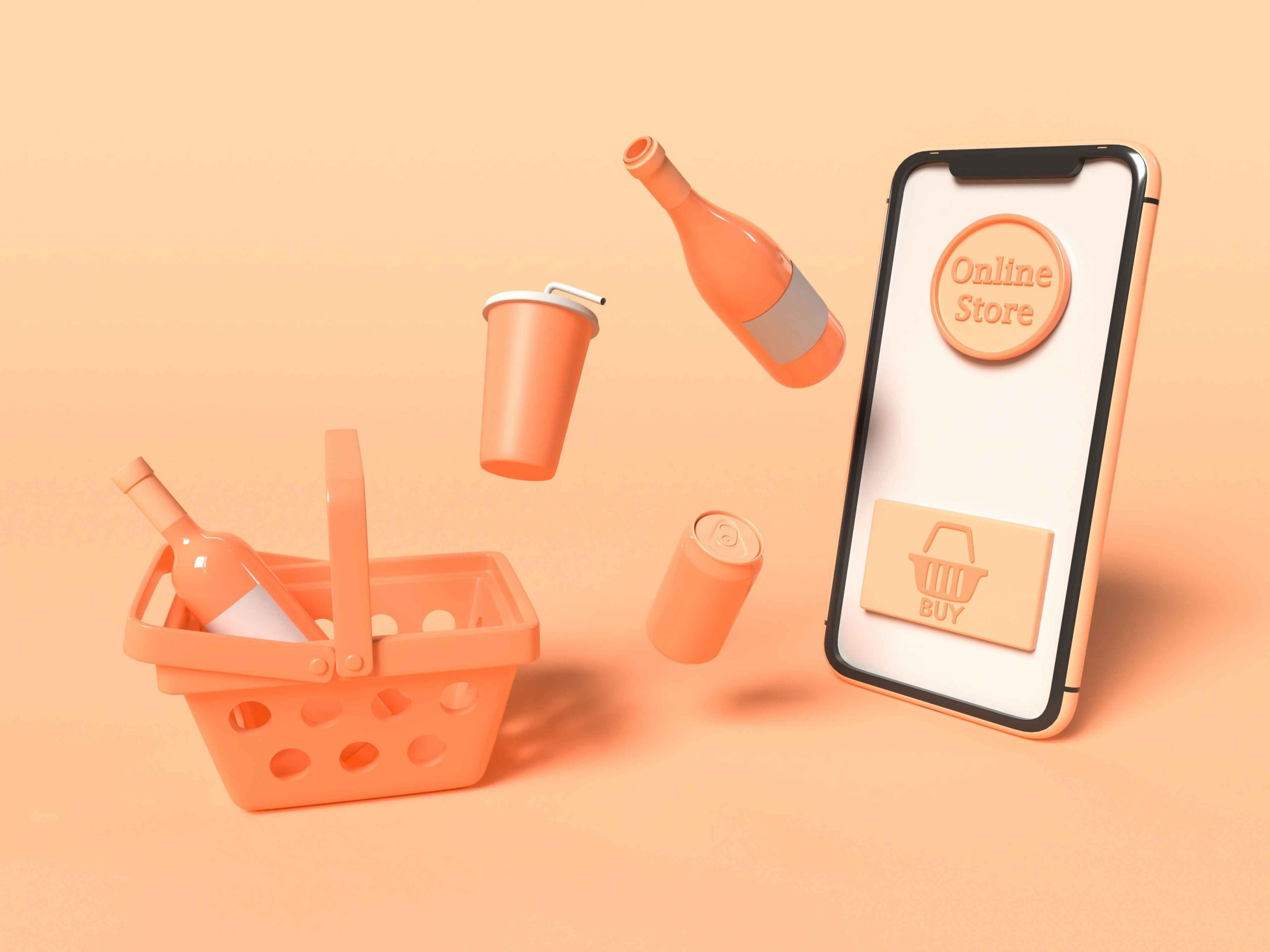 Shopping Online Orange Peachy Colour with Clay Basket